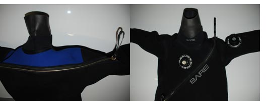 Dry suit zippers in front and on the back of the dry suit